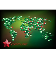 Red star communist on the map vector