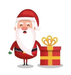 santa claus and box gift merry christmas design vector image vector image