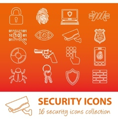 Security outline icons vector