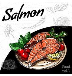 Set of hand drawing food salmon grill vector