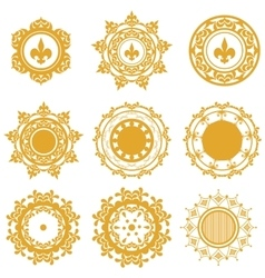 Set of yellow or gold mandalas vector image