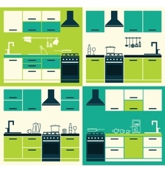 Set ofModern Kitchen Interior vector image vector image