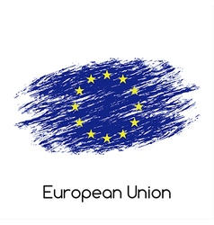 Simple European Union flag EU grunge flag isolated vector image