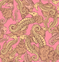 Sketch seahorse and shell in vintage style vector image