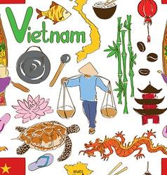 Sketch vietnam seamless pattern vector