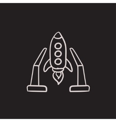 Space shuttle on take-off area sketch icon vector image