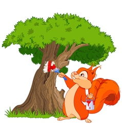 Squirrel painter vector image vector image