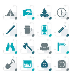 stylized tourism and hiking icons vector image