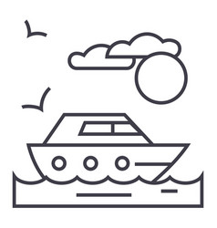 travel sea yacht line icon sign vector image vector image