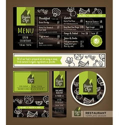 Vegetarian and vegan healthy restaurant cafe menu vector