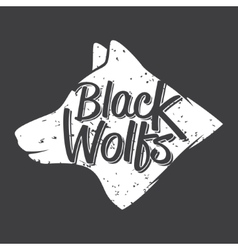 white wolf hand drawn typography poster vector image