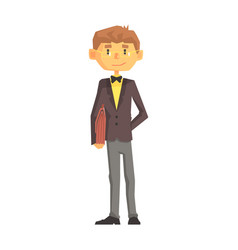 young man school teacher in classic outfit vector image