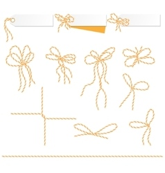 Tags and labels with bakers twine bows ribbons vector image