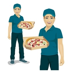 Pizza delivery courier offering pizza in box vector