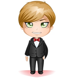 Groom dressed in black suite vector