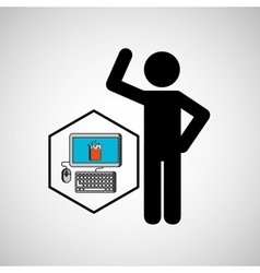 silhouette man science technology chemistry vector image