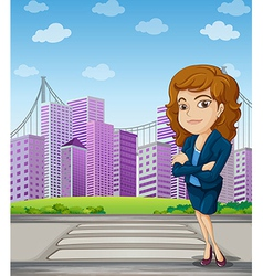 A businesswoman with a formal attire standing at vector