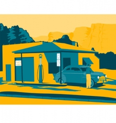 Old gas station vector