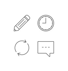 Speech bubble edit and clock line icons vector
