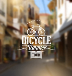 Type vintage design with bicycle silhouette vector image