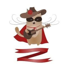 Funny cat zorro valentine vector