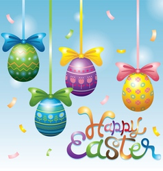 Easter eggs hanging decorate vector
