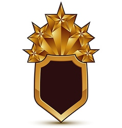 Sophisticated blazon with a golden star emblem 3d vector