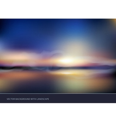 Seascape with sunset vector
