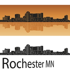 Rochester skyline in orange vector image