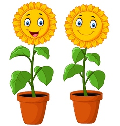 Cartoon happy sunflower vector