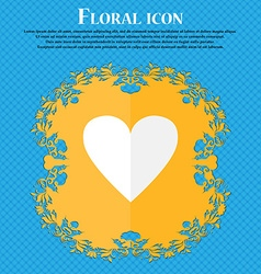 Heart sign icon love symbol floral flat design on vector
