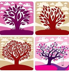 Art graphic of stylized tree and peaceful pu vector