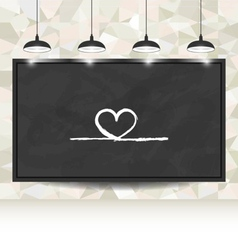 Love background with hearts on blackboard vector