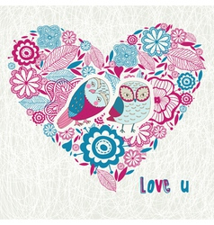 Love you owl heart vector