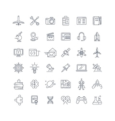 Science media and internet line icons set vector