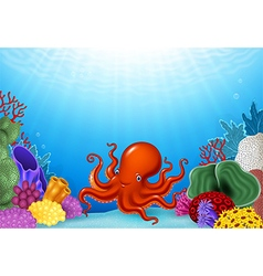 Cartoon Octopus with Coral Reef Underwater vector image