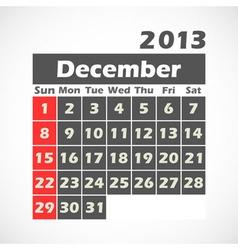 Calendar 2013 December vector image