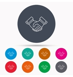 Handshake icon deal agreement sign vector