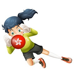 A girl using the ball with the Hongkong flag vector image vector image