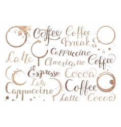 Background with coffee words in retro style vector image