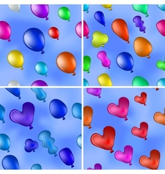 Balloons in sky seamless set vector image vector image