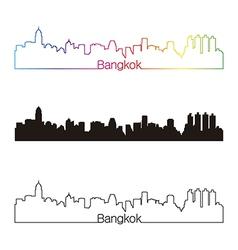 Bangkok skyline linear style with rainbow vector