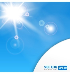 Blue abstract background with sunburst flare vector