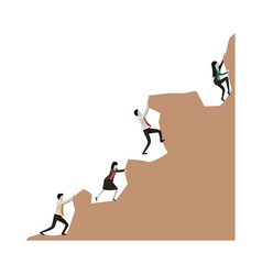 business people group trying to climb to the top vector image