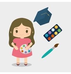 Cartoon girl paint brush palette color cap vector
