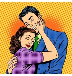 Couple in love hugging husband wife retro vector