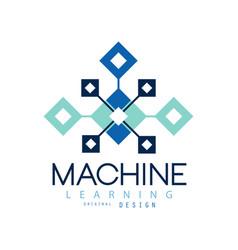 Creative geometric logo machine learning modern vector