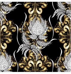 Damask golden floral pattern on a black white vector