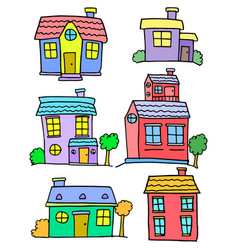 Doodle of house colorful set collection vector