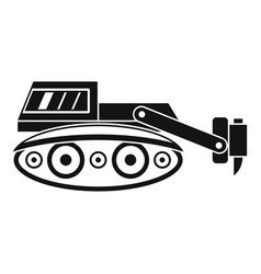 Excavator with hydraulic hammer icon simple vector